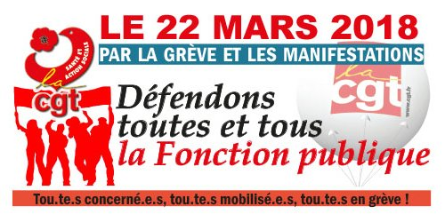 Le 22 mars défendons la Fonction Publique !   22/03/18