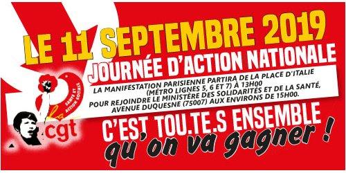 Journée d'action nationale dans la santé   9/09/19