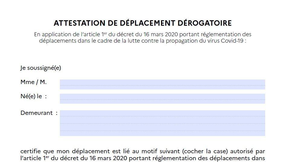 Déplacements réduits: Obligation d'avoir une attestation de déplacement dérogatoire  17/03/20